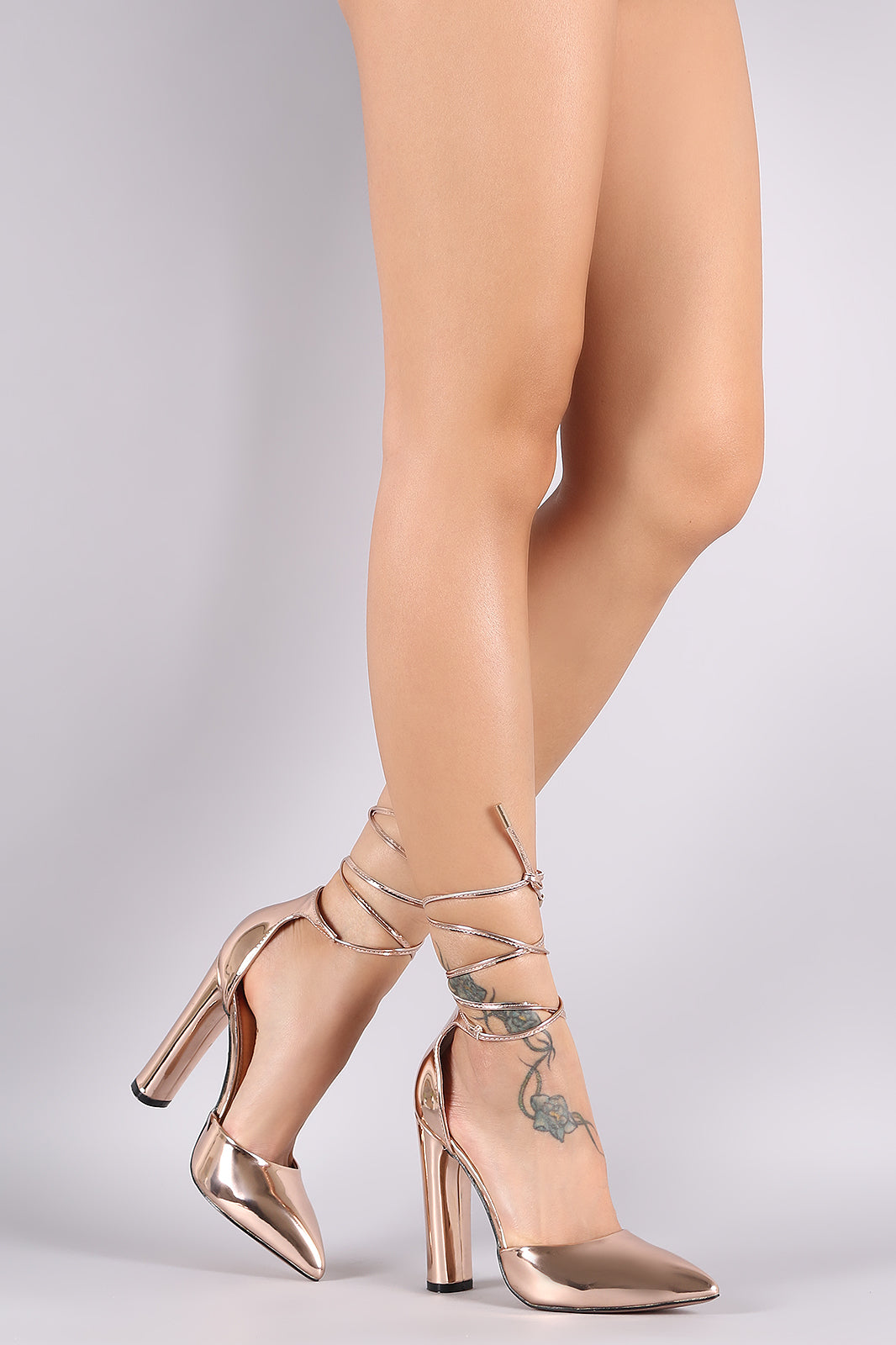 Metallic Pointy Toe Ankle Lace-Up Chunky Heel