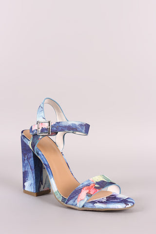 Bamboo Floral Printed Open Toe Ankle Strap Chunky Heel