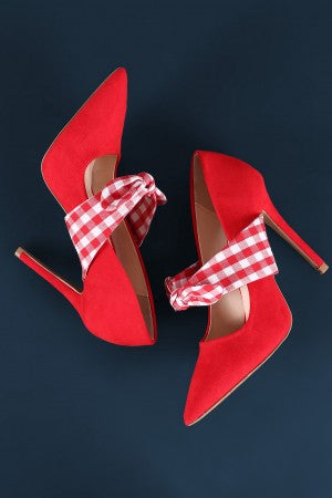 Qupid Suede Gingham Mary Jane Stiletto Pump