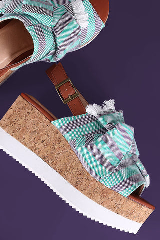 Canvas Striped Peep Toe Slingback Flatform Wedge