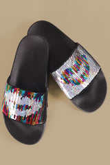Color Changeable Sequins Lip Slide Sandal