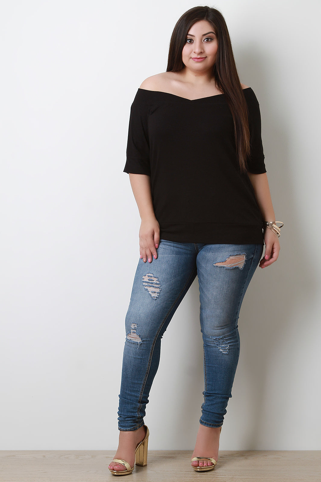 Ribbed Off Shoulder Elbow Sleeves Top