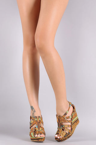 Batik Print Zip-Up Platform Wedge