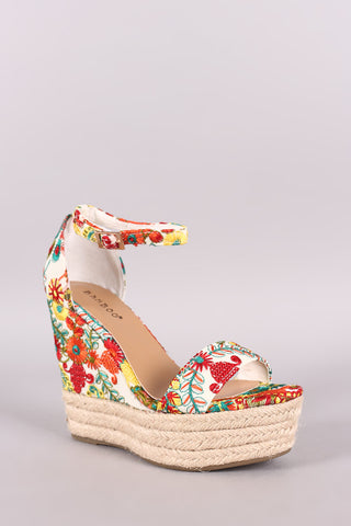 Bamboo Embroidered Floral Espadrille Platform Wedge