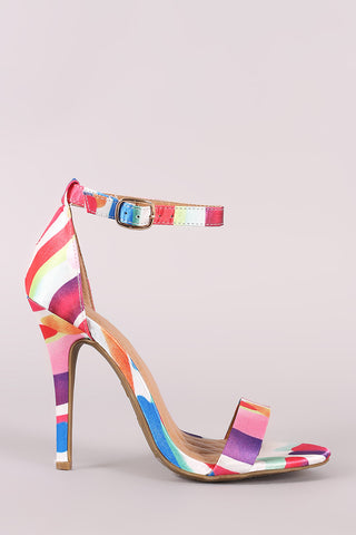 Anne Michelle Printed Ankle Strap Stiletto Heel
