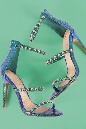 Liliana Holographic Snake Studded Triple Straps Heel