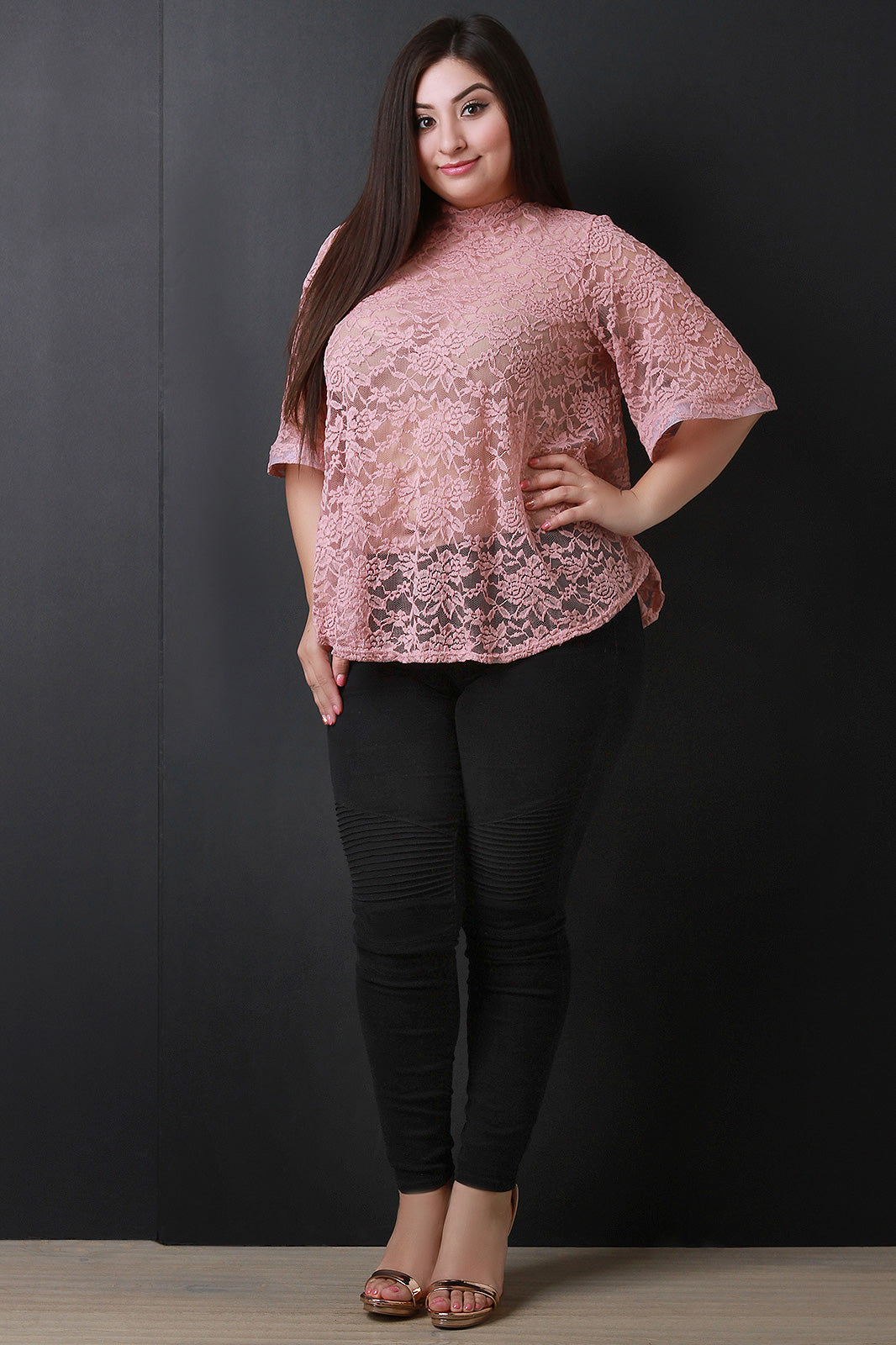 Semi-Sheer Lace Flared Bell Sleeves Top