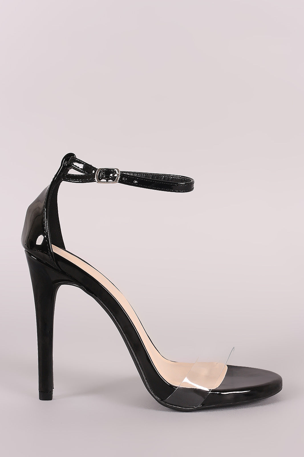 Qupid Patent Clear Ankle Strap Open Toe Stiletto Heel