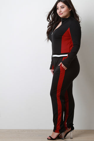 Colorblock Zipper Trim Jacket With Track Pants Set