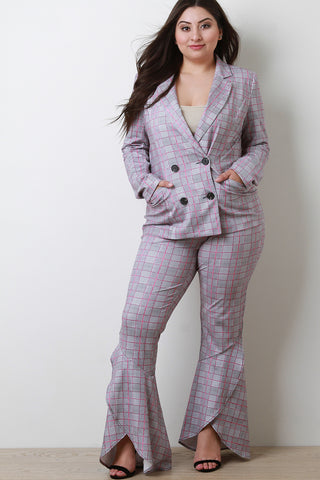 Tartan Print Blazer With High Waisted Bell Bottom Pants Set