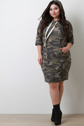 Hooded Camouflage Midi Dress