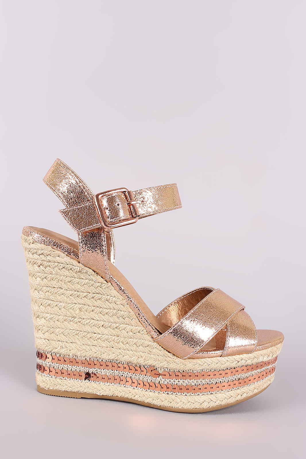 Bamboo Cracked Metallic Sequin Accent Espadrille Platform Wedge