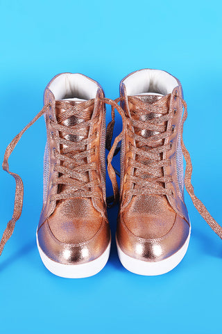 Cracked Metallic High Top Lace Up Wedge Sneaker