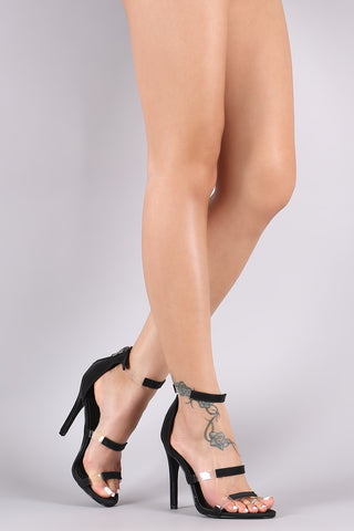 Nubuck Clear Inset Triple Straps Stiletto Heel