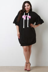 Bow Graphic Print Hooded Dress