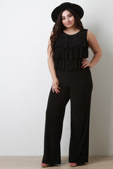 Tiered Ruffle Straight Leg Jumpsuit