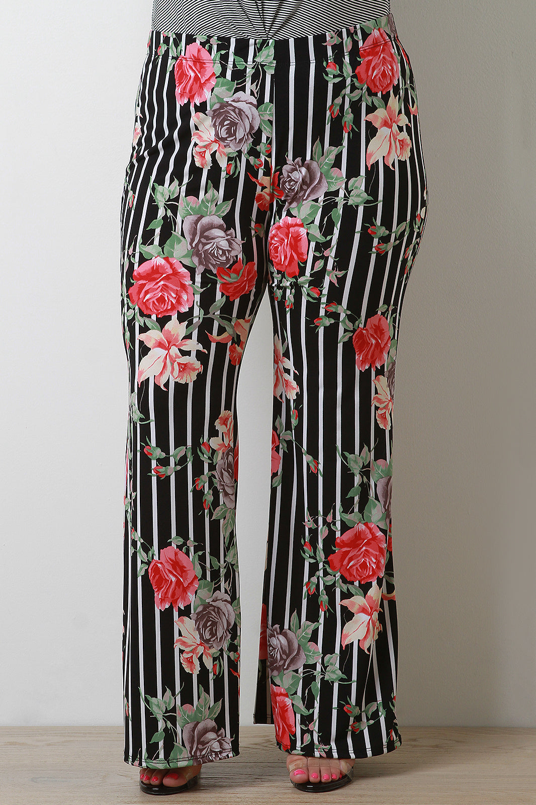 Striped Floral High Waisted Flared Pants