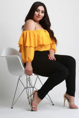 Chiffon Ruffled Off-The-Shoulder Blouse Top