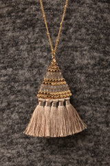 Tassel Fringe Beaded Triangle Long Chain Necklace