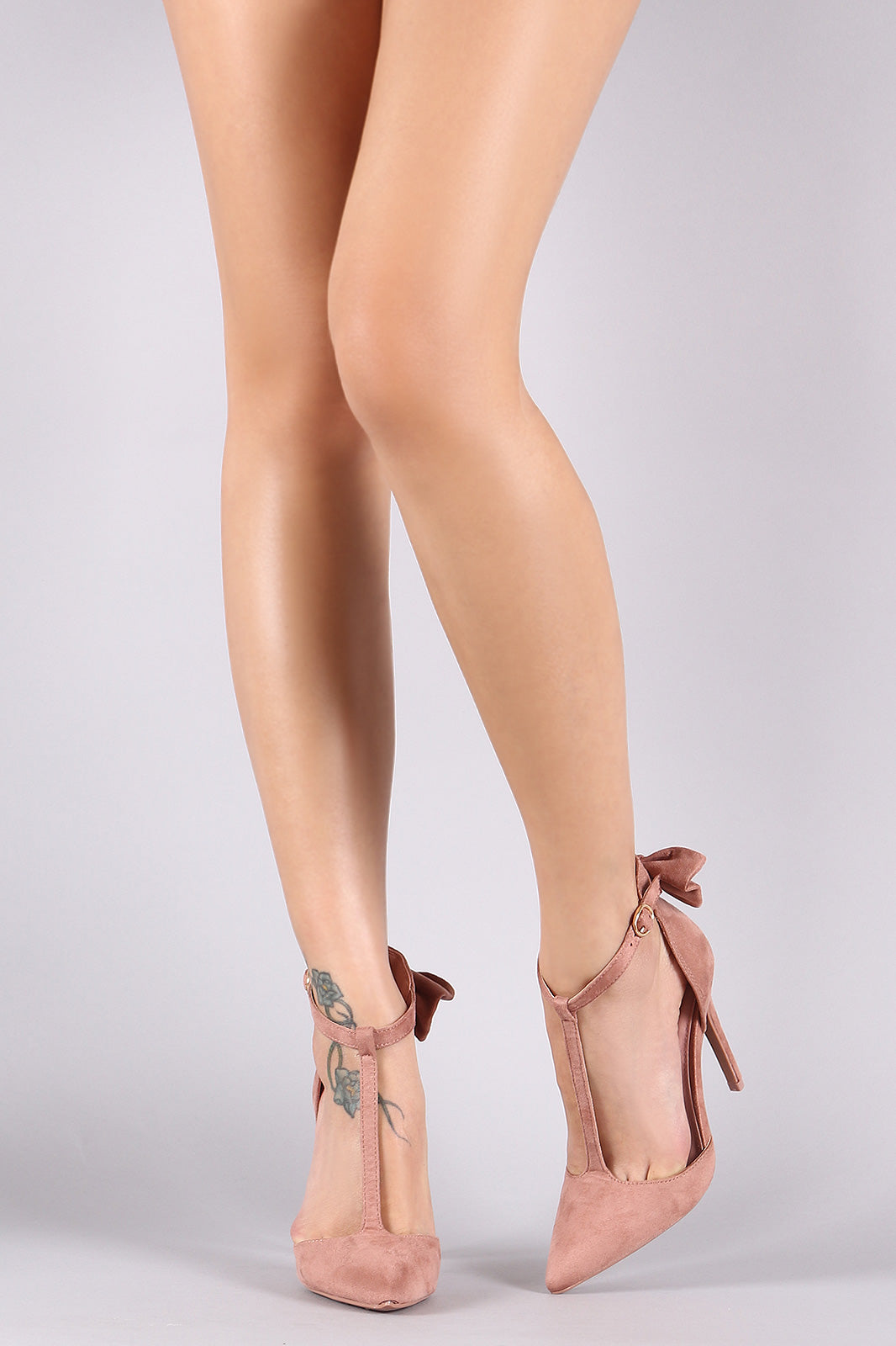 Back Bow Suede Pointy Toe T-Strap Stiletto Pump