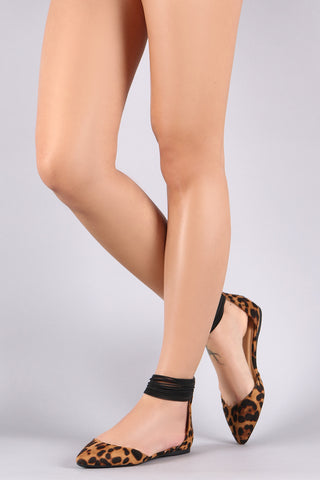 Leopard Strappy Elastic Ankle Pointy Toe Flat
