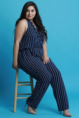 Striped Halter Waist Sash Jumpsuit