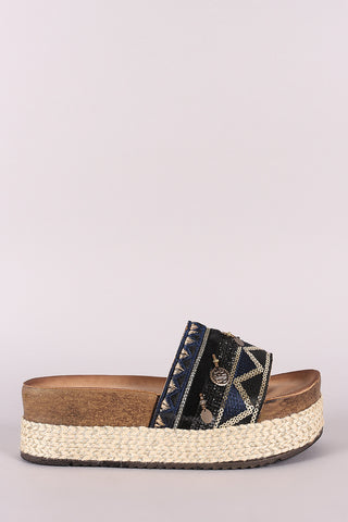 Mixed Media Embroidered Coin Accent Espadrille Slide Flatforms