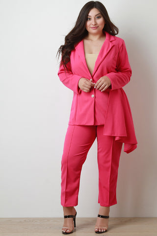 Peplum Side Blazer with Pinch Crease Pants Set