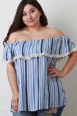 Striped Crochet Trim Off-The-Shoulder Top
