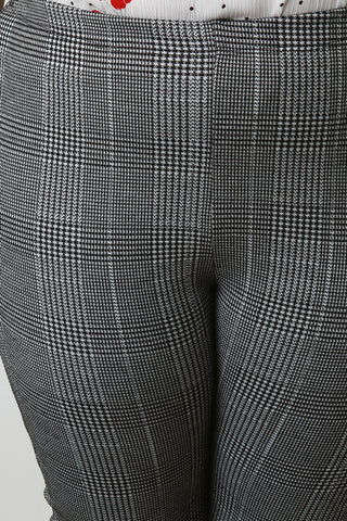 Houndstooth Print High Waisted Skinny Pants