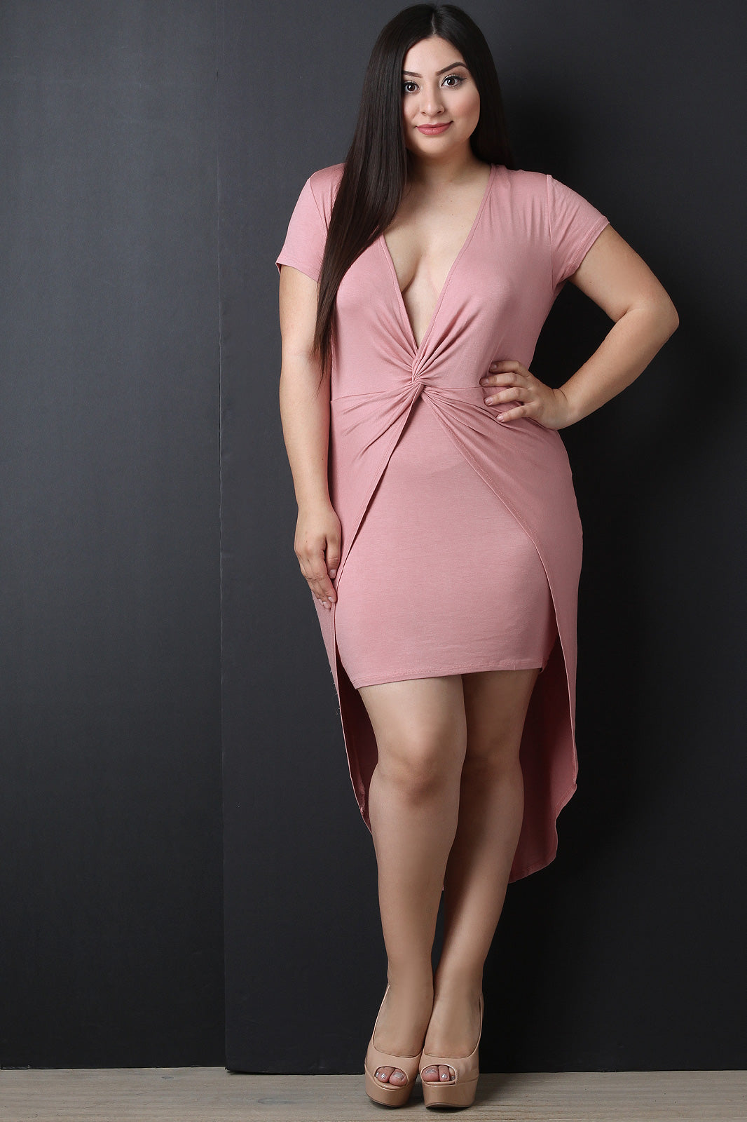 Knotted Plunging High Low Dress
