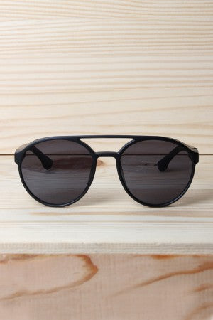Matt Bar Brow Brim Frame Sunglasses
