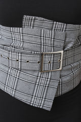 Glen Plaid Crepe Square Buckle Belt