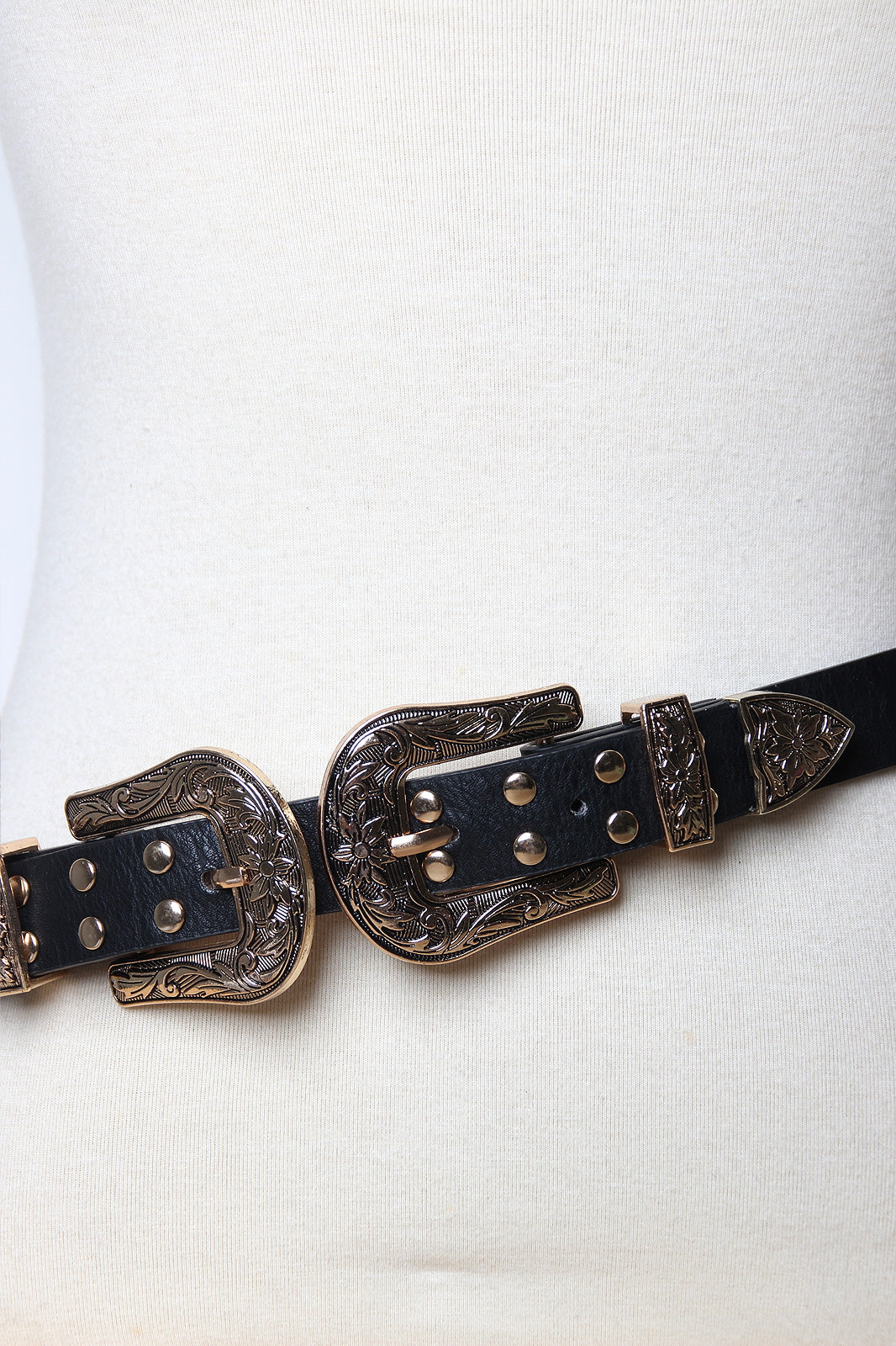Floral Etched Studded Double Buckle Belt