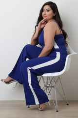 Side Stripe Sleeveless Top with Palazzo Pants Set