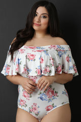 Off The Shoulder Flutter Tier Floral Bodysuit