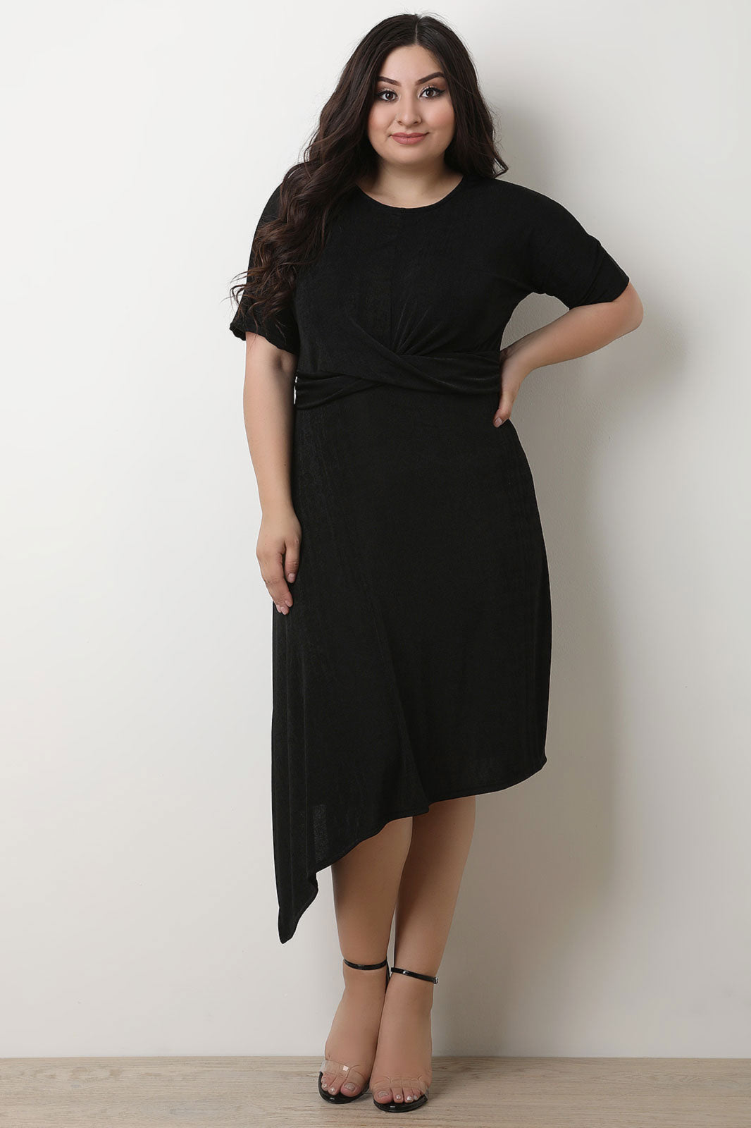 Twisted Front Short Sleeves Midi Dress