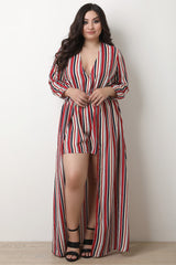 Multi Striped V-Neck Romper Maxi Dress