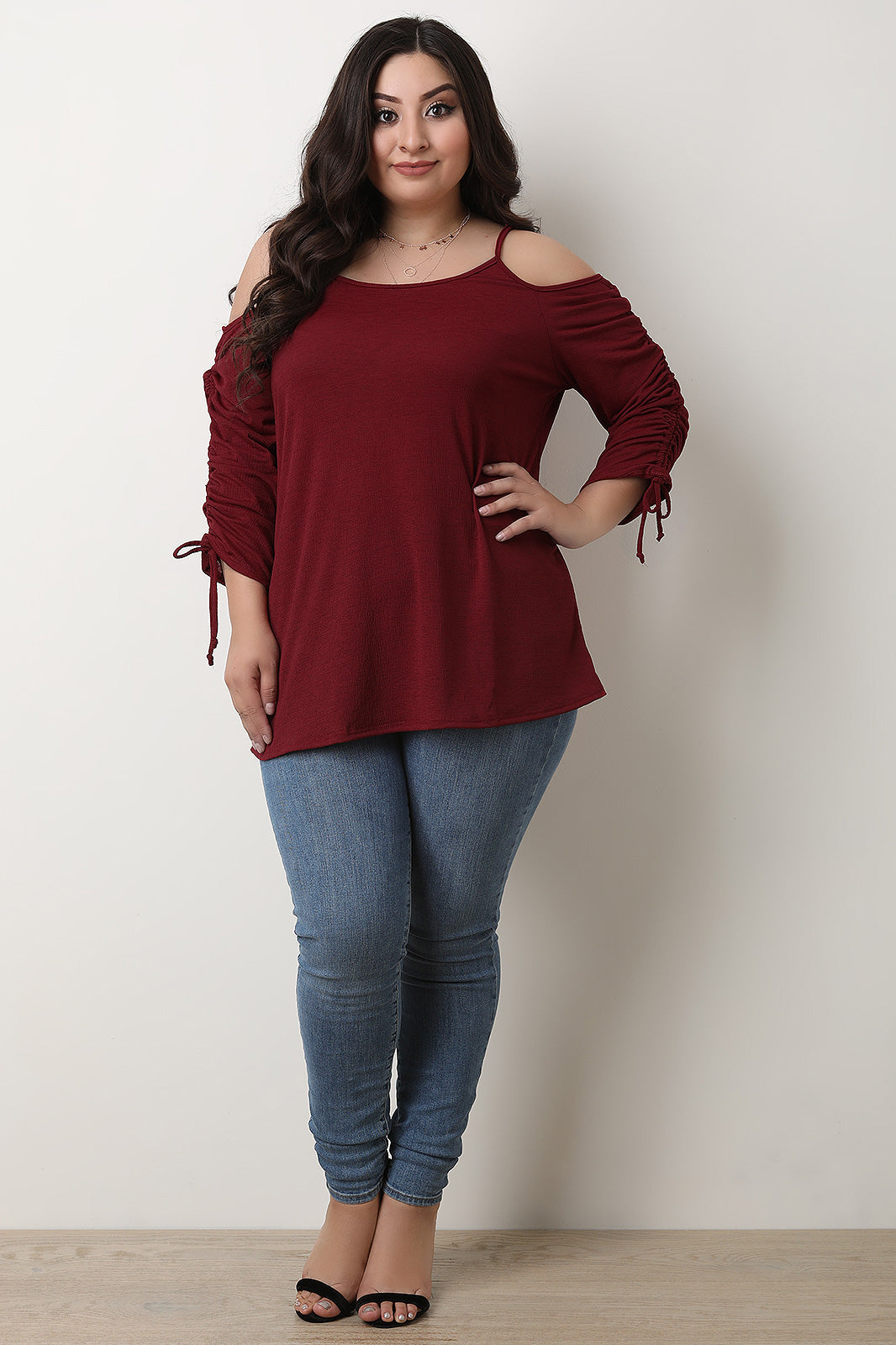 Cold Shoulder Cinched Drawstring Sleeves Top