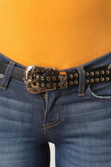 Studded Medallion Etched Buckle Belt