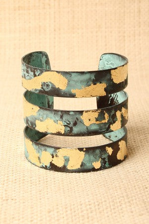 Burnished Cutout Caged Cuff Bracelet