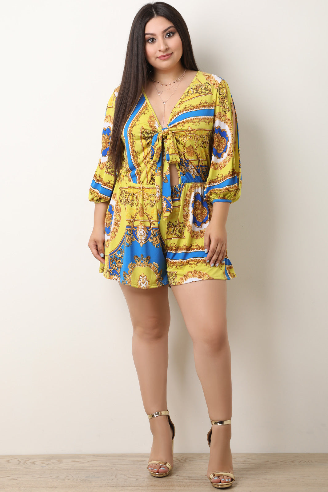 Filigree Print Self Tie Cutout Romper