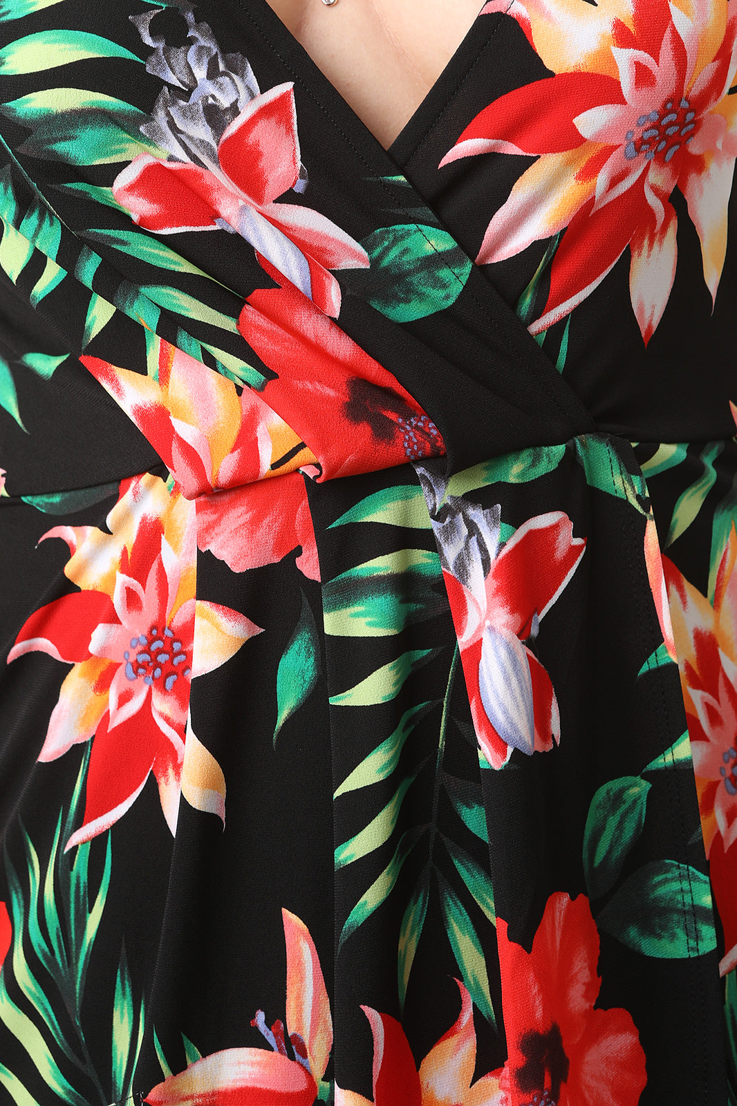 Surplice Tropic Floral Dress