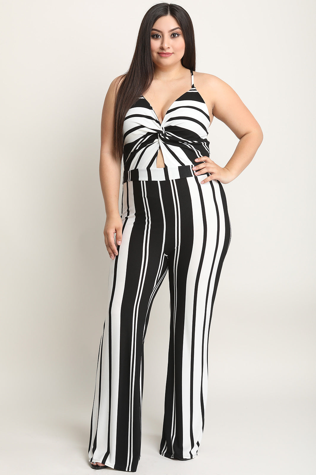Knotted Front Striped Palazzo Jumpsuit