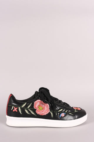 Embroidered Floral Lace Up Sneaker