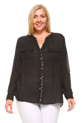 Women's Plus Size Sheer Collarless Printed Blouse