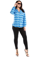 Women's Plus Size 3D Zig Zag Print Button Down Top