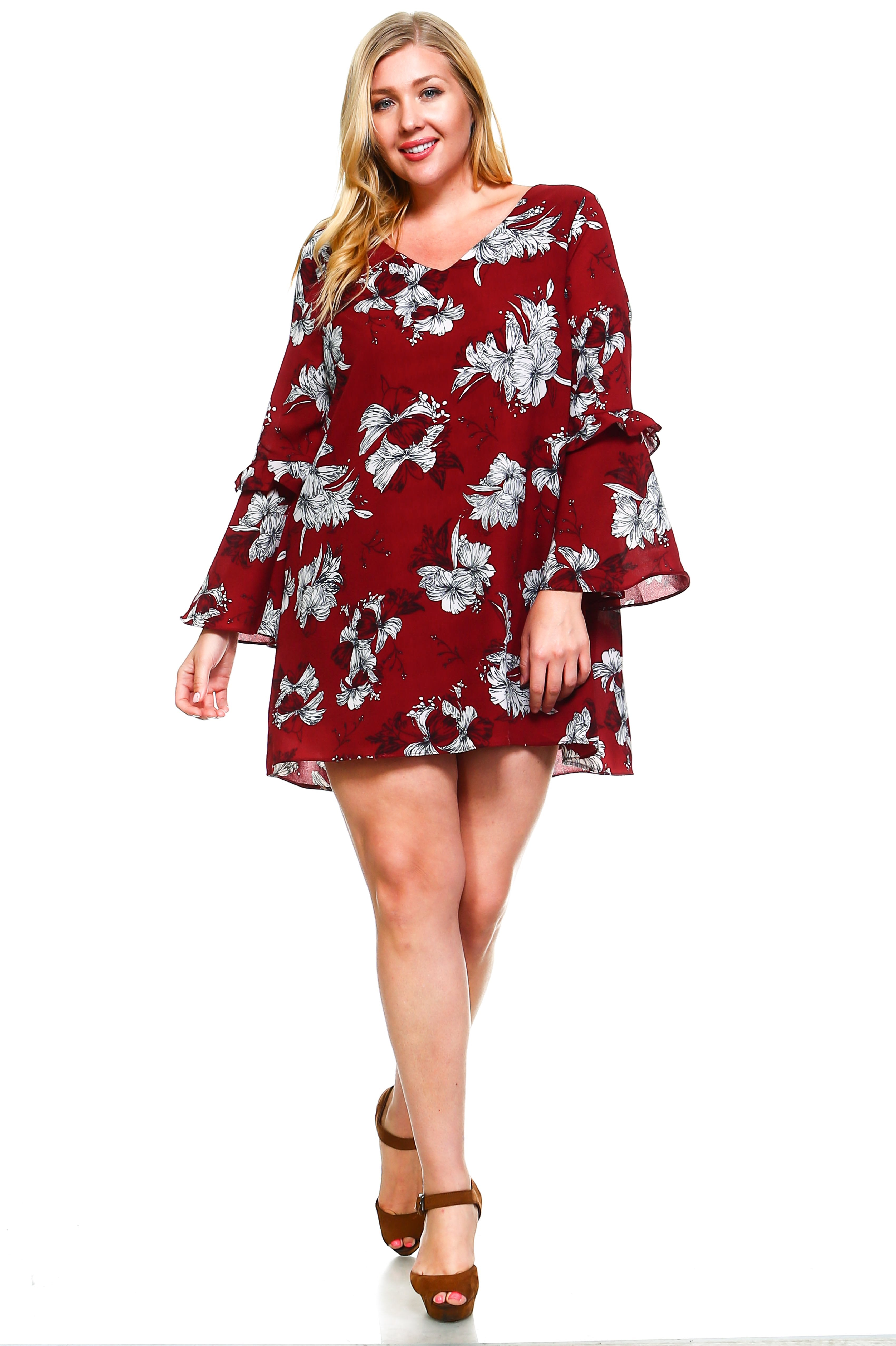 Women's Plus Size Floral Bell Sleeve Cut-Out Dress