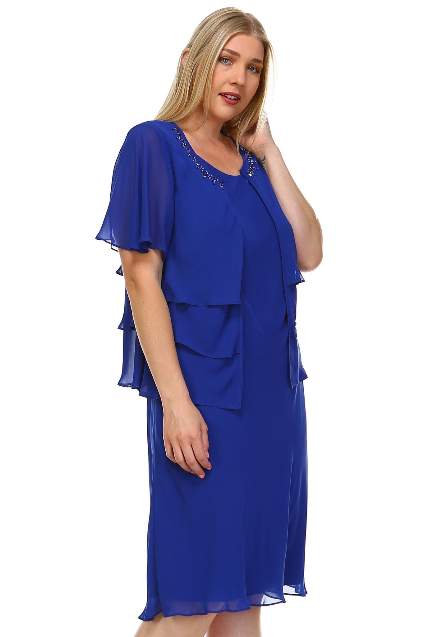 Women's Plus Size Chiffon Dress w/ Beaded Neckline Chiffon Blazer