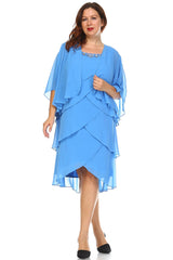 Women's Plus Size Gem Stone Neckline Dress with Chiffon Cardigan